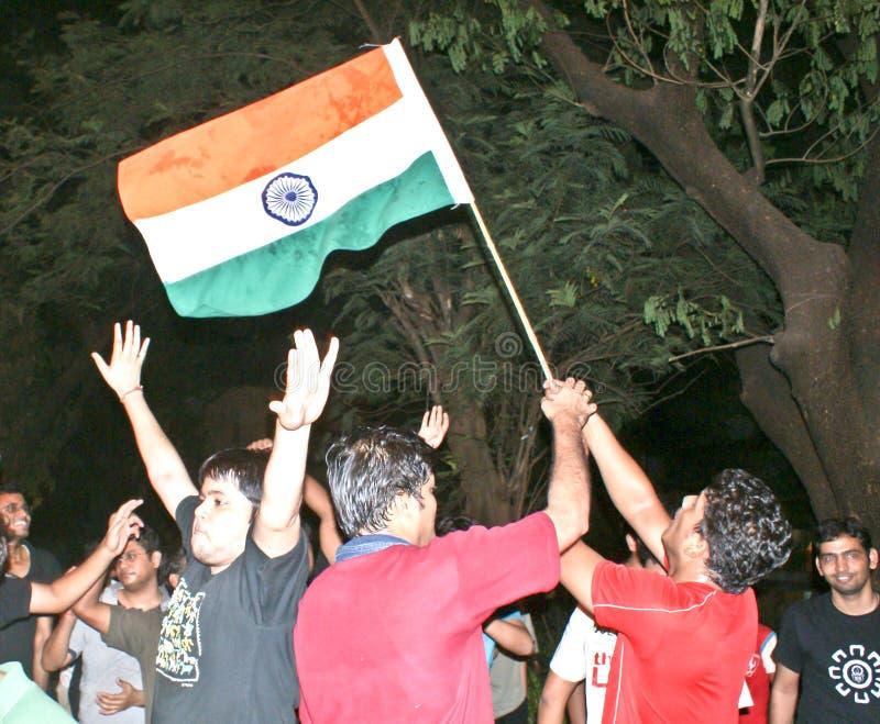 Indians celebrating cricket match victory. stock photo