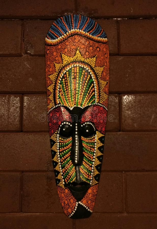 Download Indians Mask Decoration Design On The Brick Wall Stock Photo - Image: 83702836