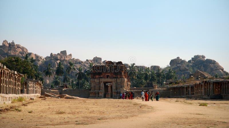 Indians visiting the temples of Hampi, Karnataka, India stock photography