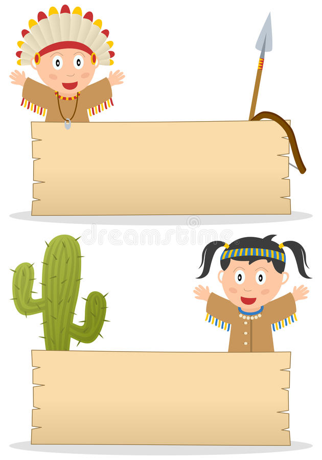 Indians and Wooden Board royalty free stock photos