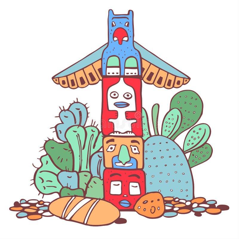 Indiantotempåle, stenar och kakturs Klottret för översikten för färgvektorn skissar handen drog illustrationen stock illustrationer