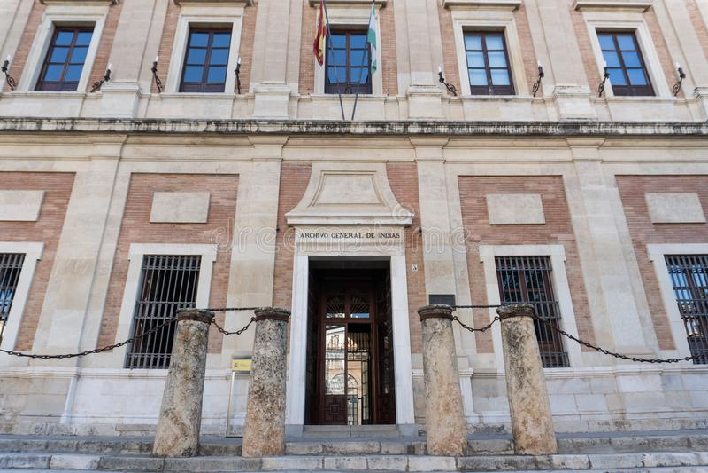 Indiasarchief die Sevilla, Andalucia Spanje bouwen stock foto