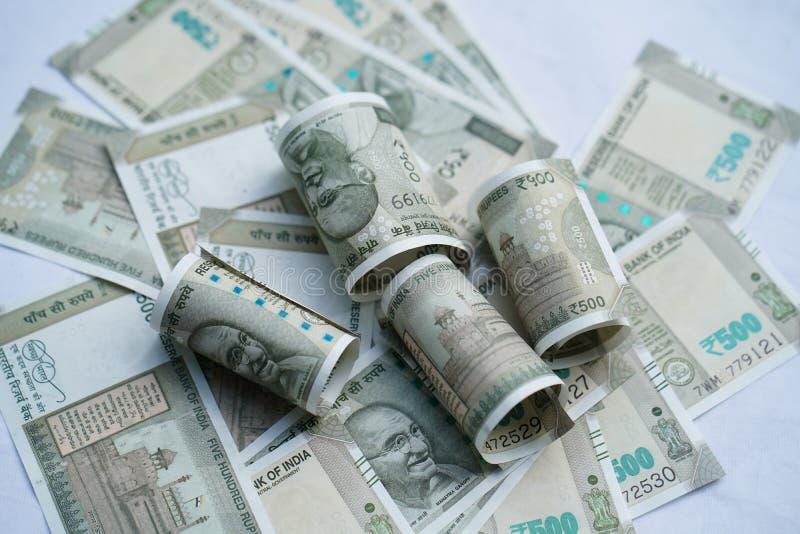 Indiase valuta van 500 roepies stock afbeeldingen
