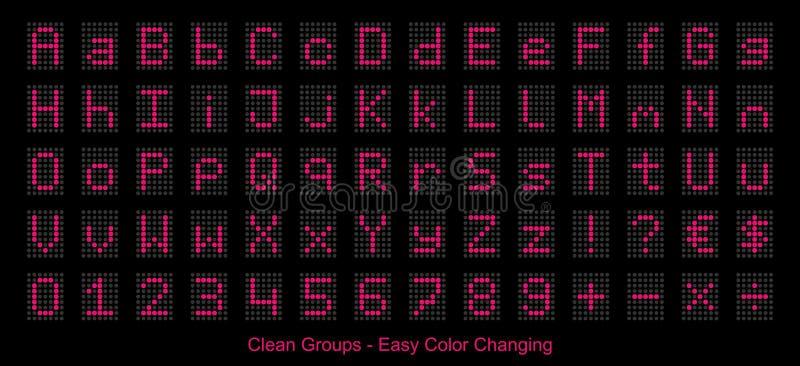 Indicação digital do diodo emissor de luz - números e alfabeto cor-de-rosa - ilustração do vetor ilustração do vetor