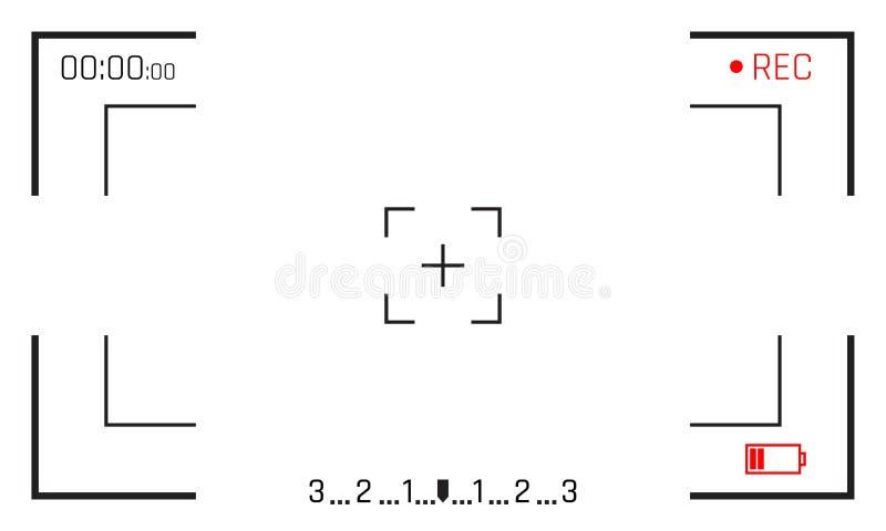 Indicação digital do gravador de vídeo do vetor da tela do visor do quadro da câmera com fundo do branco do quadro da câmera da f ilustração stock