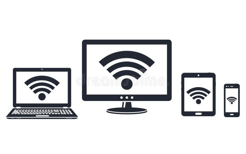 Indicação digital, portátil, tabuleta e ícones espertos do telefone com símbolo do wifi ilustração do vetor