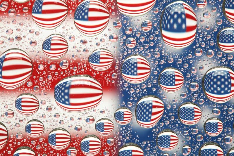 Indicador americano en gotas del agua imágenes de archivo libres de regalías
