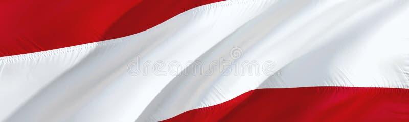 indicador austríaco Indicador de Austria diseño de la bandera que agita 3D, representación 3D El símbolo nacional del papel pinta stock de ilustración