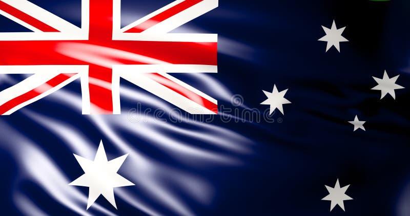Indicador australiano Ejemplo australiano de la bandera que agita 3d calidad 4K ilustración del vector