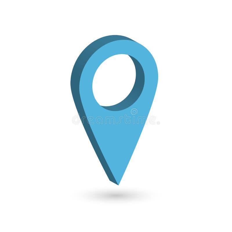 Indicador azul del mapa 3D con la sombra caída en el fondo blanco Ilustración del vector EPS10 libre illustration