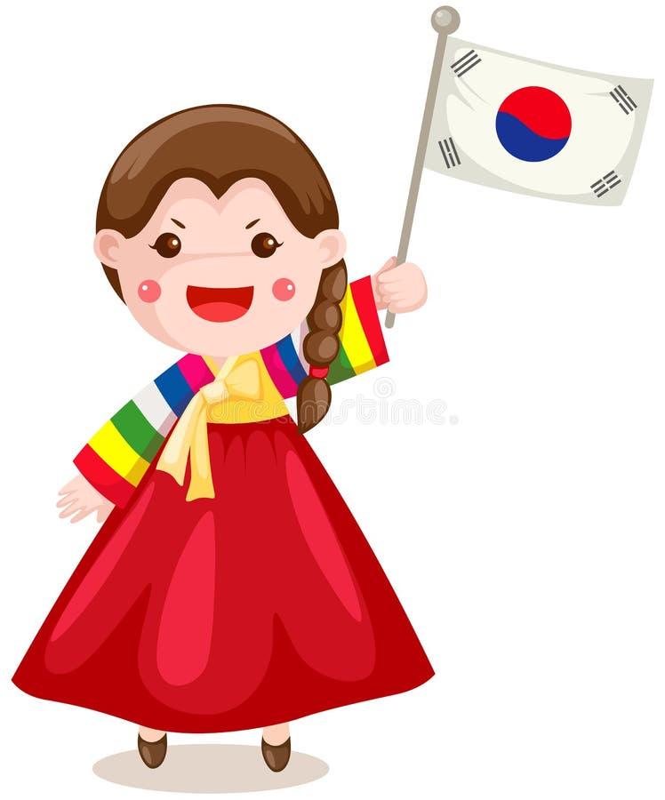 Indicador coreano de la explotación agrícola de la muchacha en blanco libre illustration