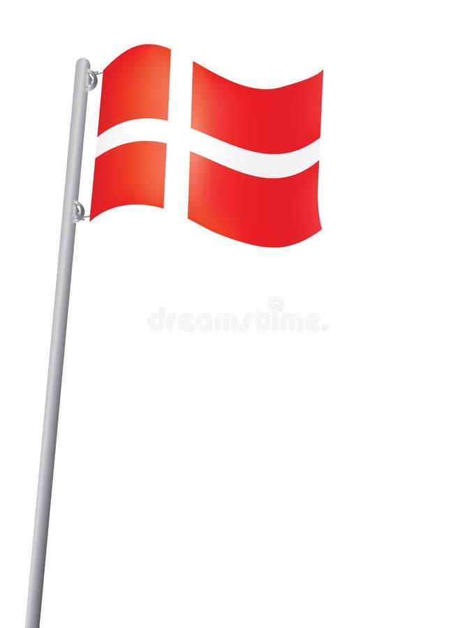 Indicador danés en una asta de bandera ilustración del vector