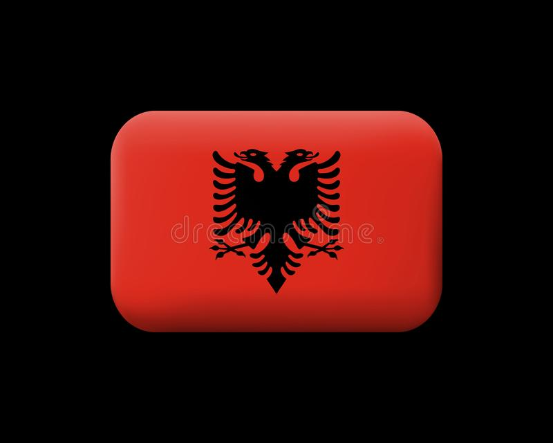 indicador de Albania Icono y botón enmarañados del vector redondeado stock de ilustración