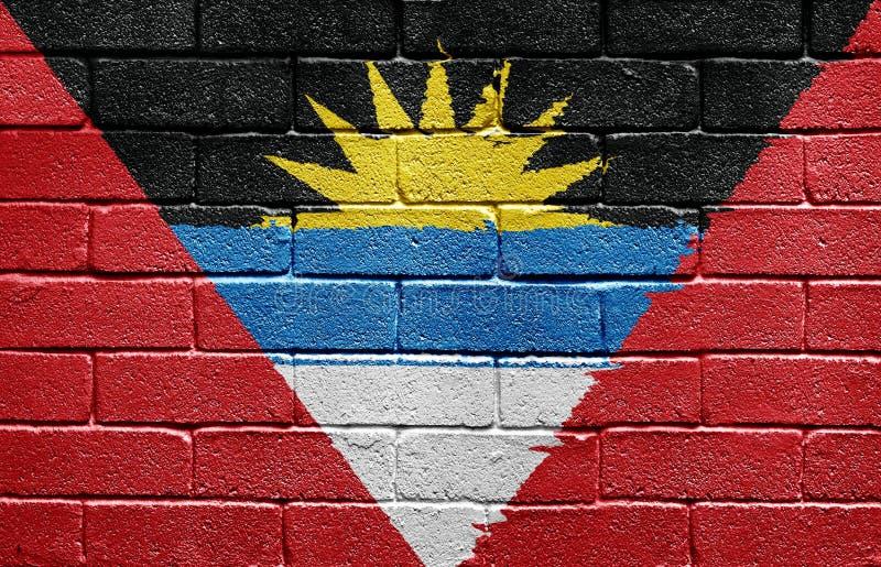 Indicador de Antigua y de Barbuda en la pared de ladrillo fotografía de archivo libre de regalías