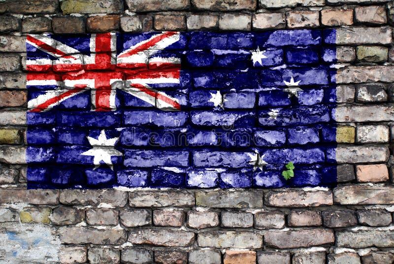 Indicador de Australia pintado en una pared de ladrillo vieja fotografía de archivo libre de regalías