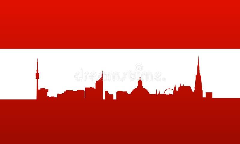 Indicador de Austria con la silueta de Viena ilustración del vector