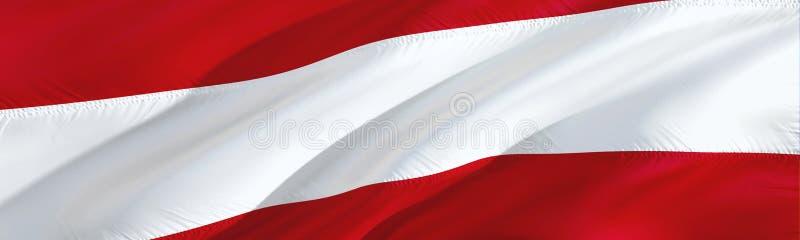 Indicador de Austria diseño de la bandera de la representación que agita 3D El símbolo nacional del austriaco diseño de la muestr stock de ilustración