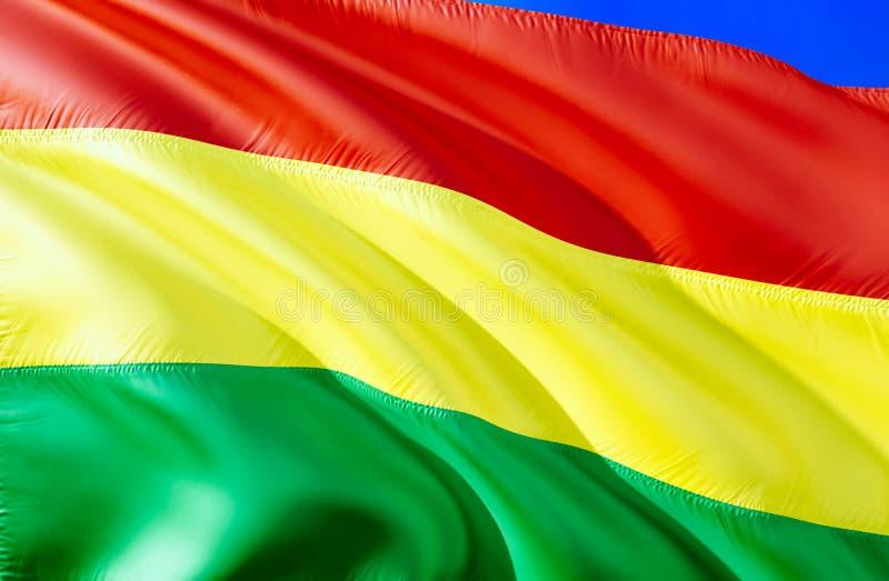 Indicador de Bolivia diseño de la bandera que agita 3D El símbolo nacional de Bolivia, representación 3D Colores nacionales y ban foto de archivo libre de regalías