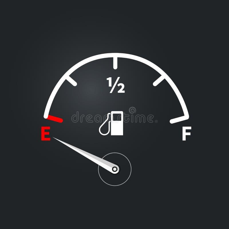 Indicador de combustível moderno com baixo nível de combustível ilustração stock