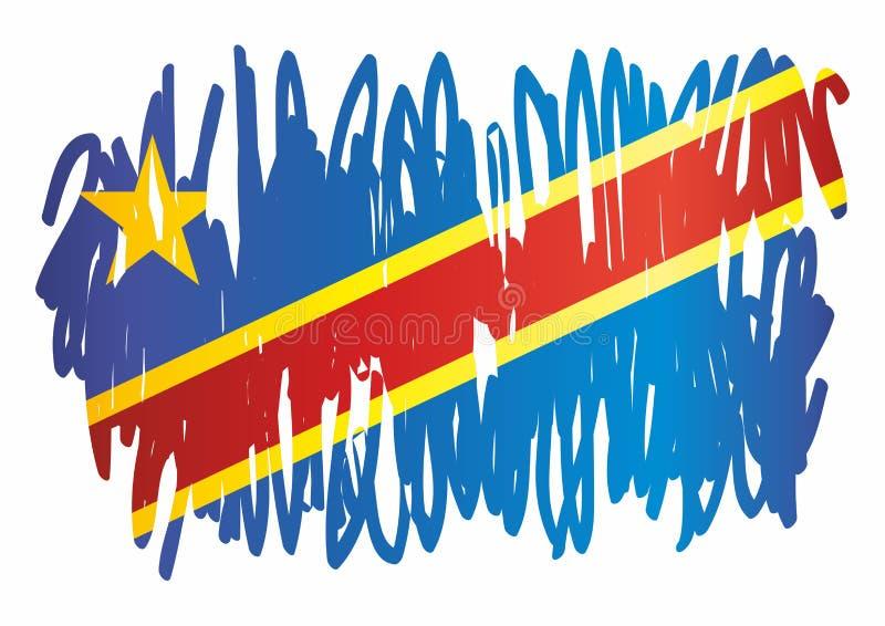Indicador de The Democratic Republic Of The Congo Plantilla para el diseño del premio, un documento oficial con la bandera del Re ilustración del vector