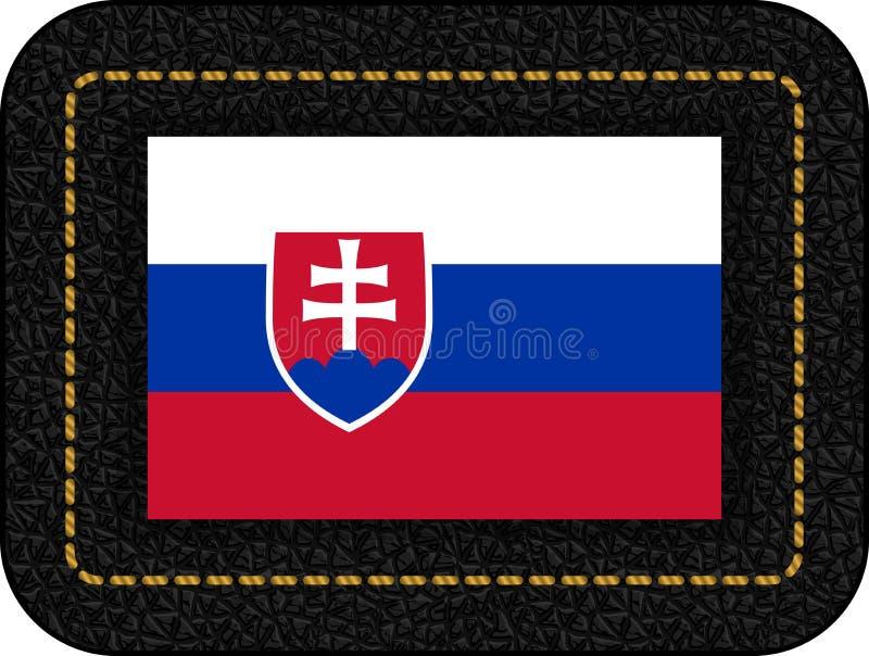 Indicador de Eslovaquia Icono del vector en el contexto de cuero negro ilustración del vector