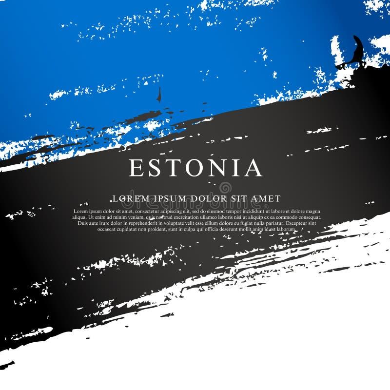 Indicador de Estonia Movimientos del cepillo dibujados a mano Fondo del grunge de la independencia Day libre illustration