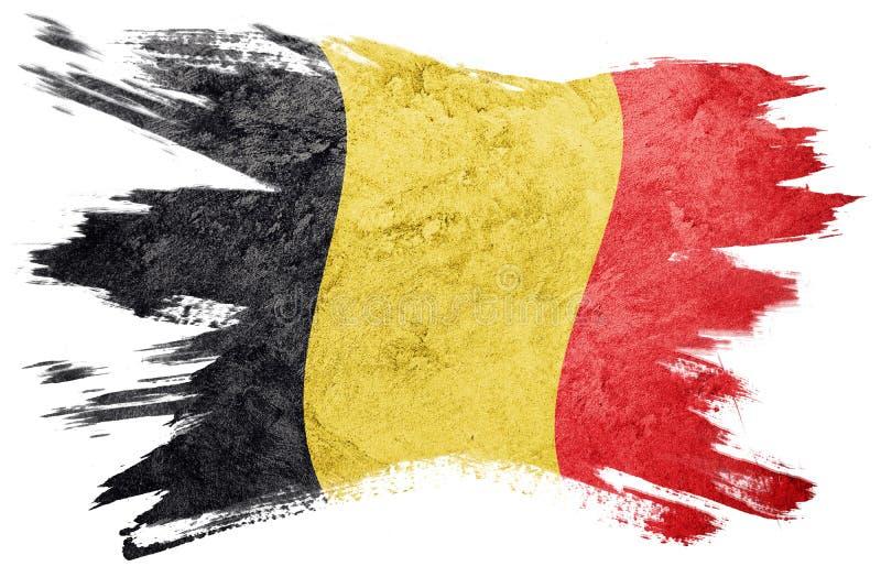 Indicador de Grunge Bélgica Bandera belga con textura del grunge Str del cepillo fotos de archivo