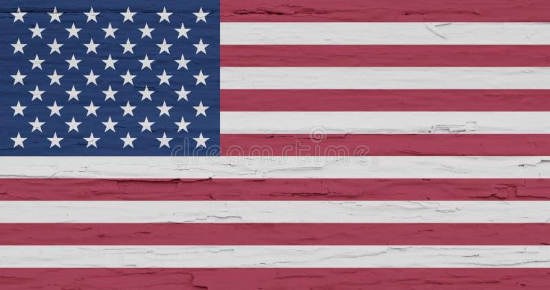 Indicador de Grunge de los E Bandera americana aislada en el fondo de madera blanco Contexto áspero pintado del vintage U S imagen de archivo