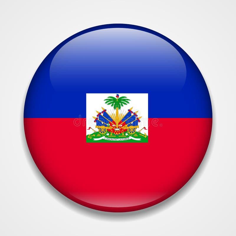 Indicador de Haití Insignia brillante redonda stock de ilustración
