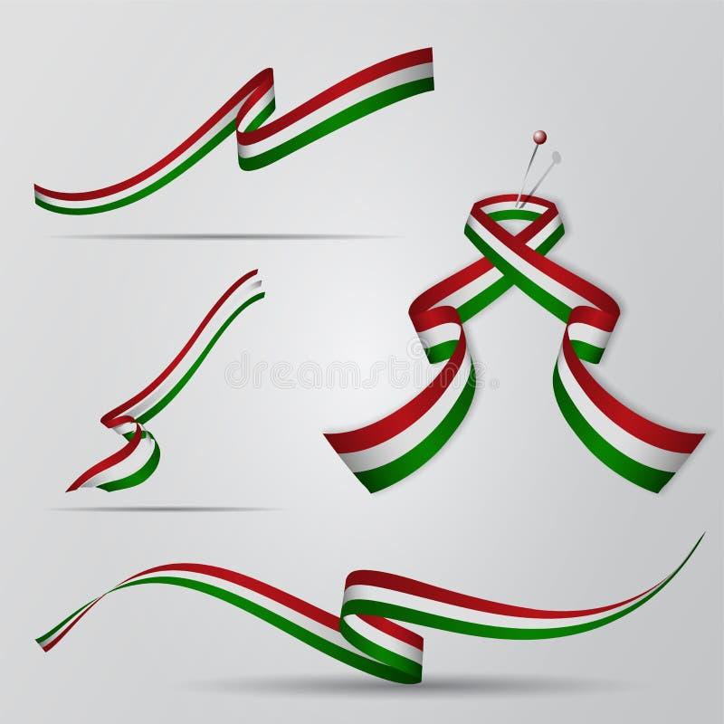 Indicador de Hungría Cintas húngaras fijadas Ilustración del vector stock de ilustración