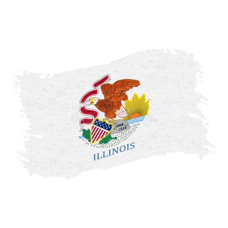 Indicador de Illinois Movimiento abstracto del cepillo del Grunge aislado en un fondo blanco Ilustración del vector ilustración del vector