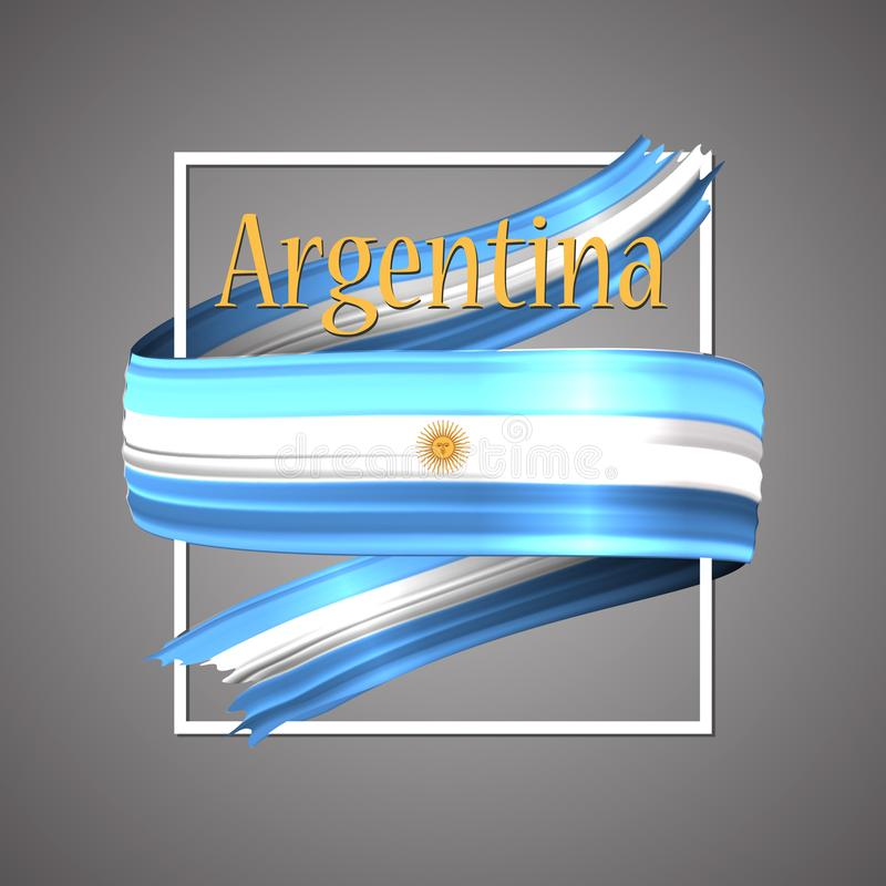 Indicador de la Argentina Colores nacionales oficiales Cinta realista argentina 3d Muestra patriótica de la raya de la bandera de stock de ilustración