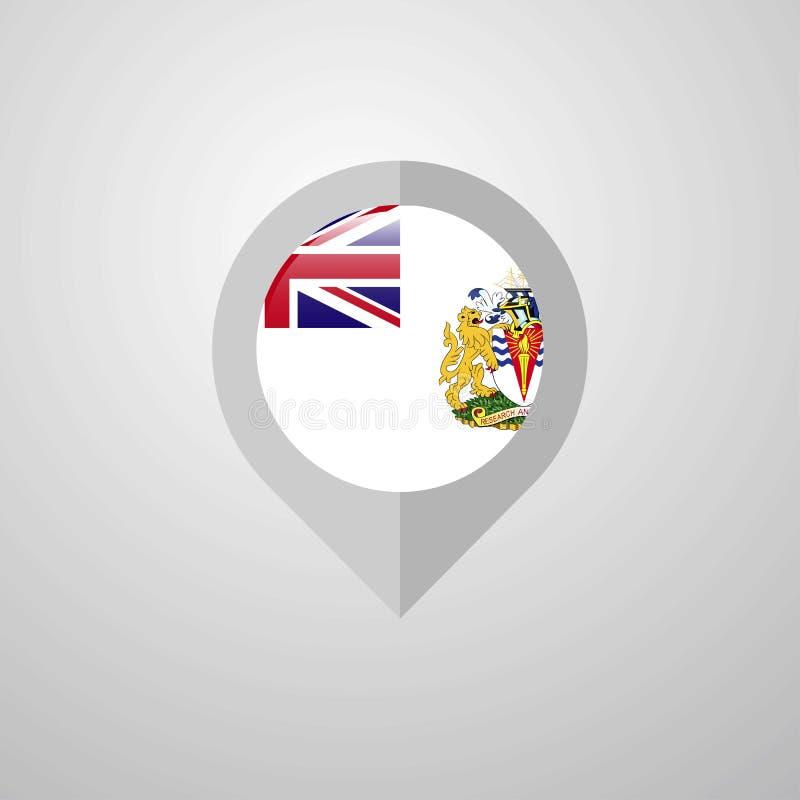 Indicador de la navegación del mapa con el DES antártico británico de la bandera del territorio ilustración del vector