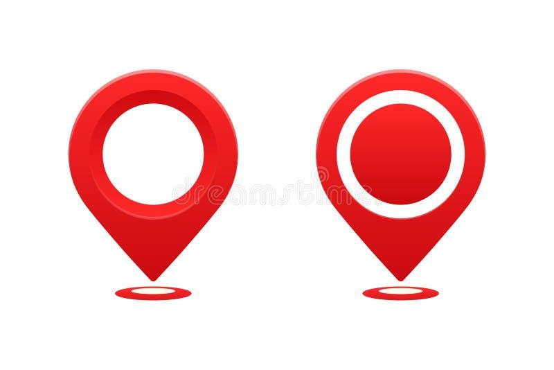 Indicador de la ubicación de los iconos Marcador del perno del indicador para el ejemplo del vector del lugar del viaje libre illustration