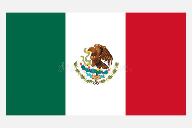 Indicador de México Bandera realista de México aislada en fondo ligero stock de ilustración