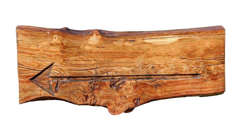 Indicador de madeira vazio com seta fotografia de stock