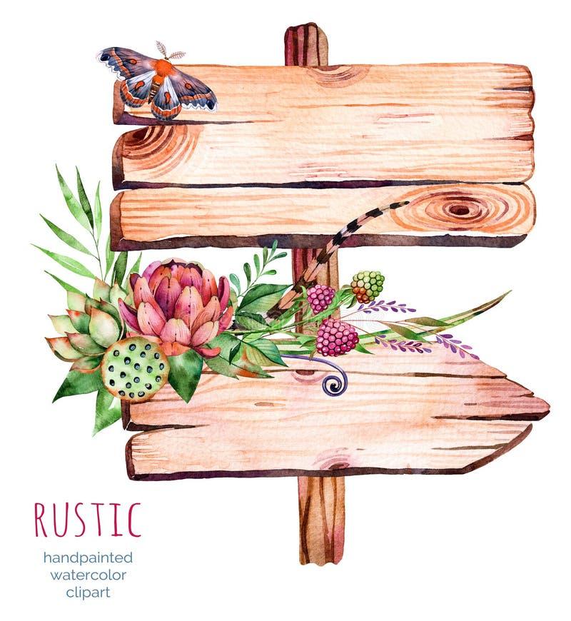 Indicador de madera de la acuarela Adornado con las flores libre illustration