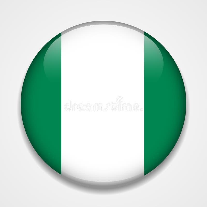 Indicador de Nigeria Insignia brillante redonda stock de ilustración
