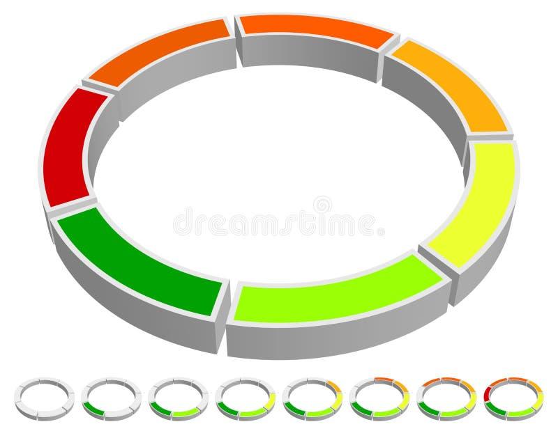 Indicador de progreso del Circular-círculo Carta, gráficos/Prese de la información ilustración del vector