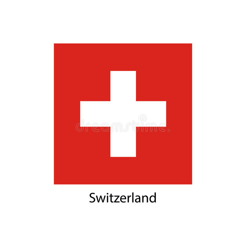 Indicador de Suiza Colores y proporción oficiales correctamente Bandera nacional de Suiza Ejemplo del vector de la bandera de Sui ilustración del vector