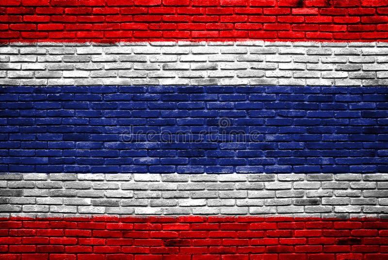 Indicador de Tailandia pintado en la pared de ladrillo vieja stock de ilustración