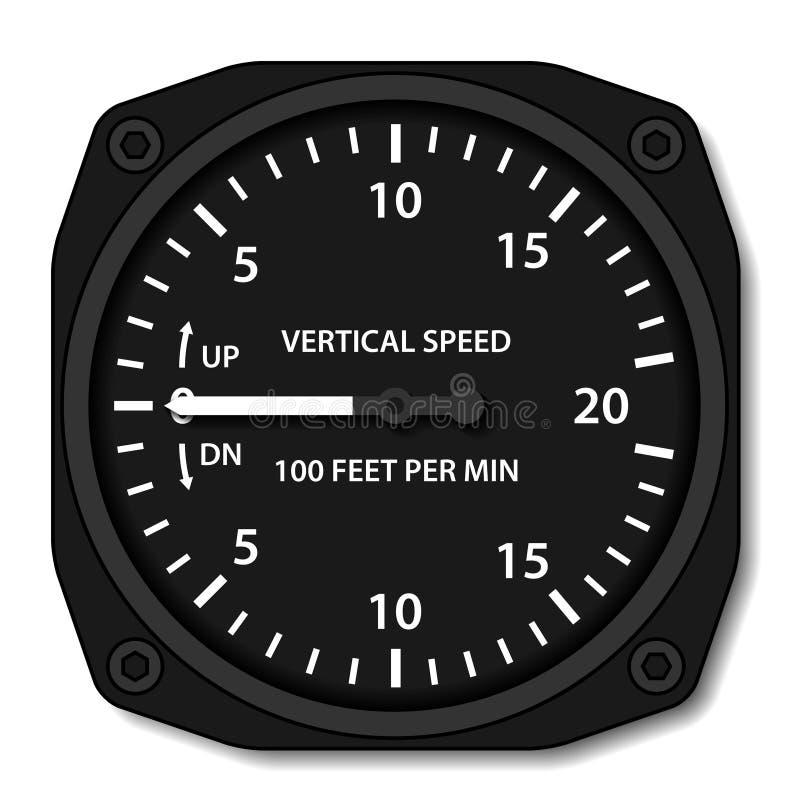Indicador de velocidad vertical del variómetro de la aviación ilustración del vector