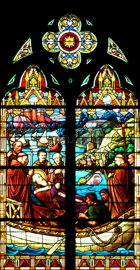Indicador de vidro colorido religioso foto de stock
