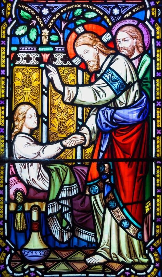 Indicador de vidro manchado do Jesus Cristo imagem de stock