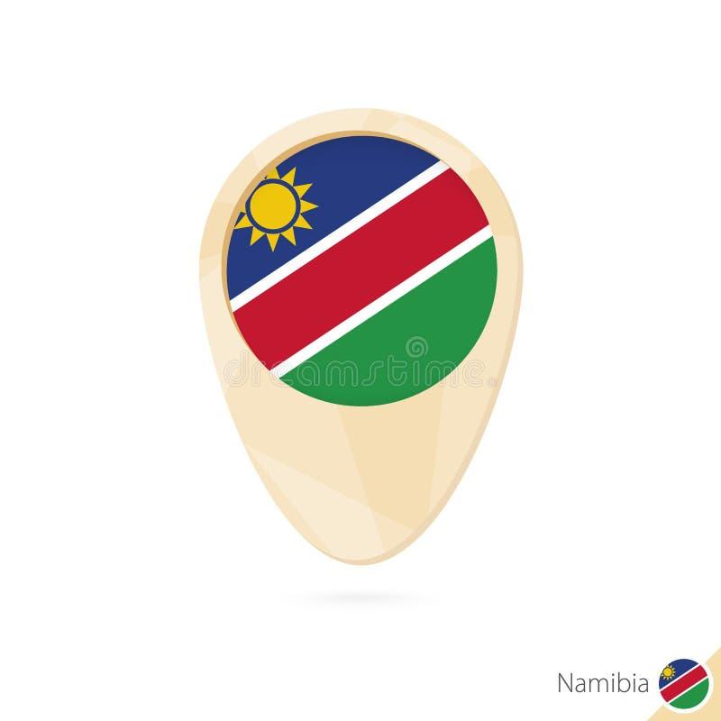 Indicador del mapa con la bandera de Namibia Icono abstracto anaranjado del mapa stock de ilustración