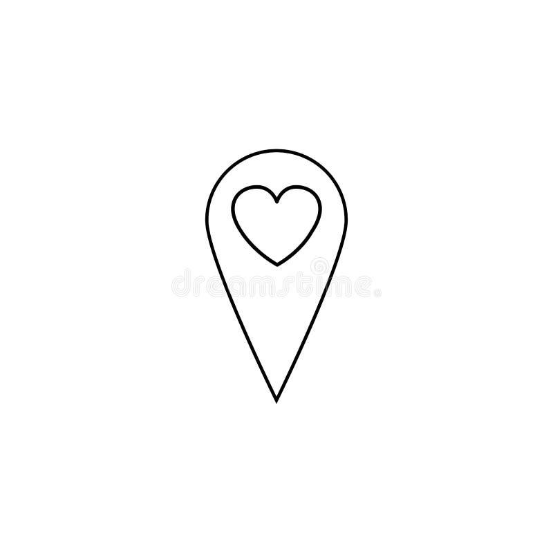 Indicador del mapa con la línea de corazón icono libre illustration