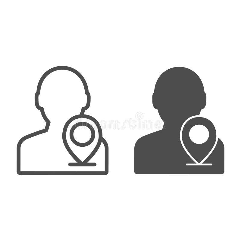 Indicador del mapa con la línea del hombre y el icono del glyph Ejemplo del vector de la ubicaci?n de la persona aislado en blanc ilustración del vector