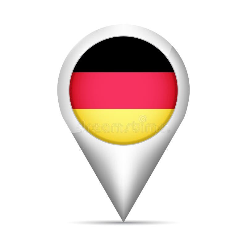 Indicador del mapa de la bandera de Alemania con la sombra Ilustración del vector ilustración del vector