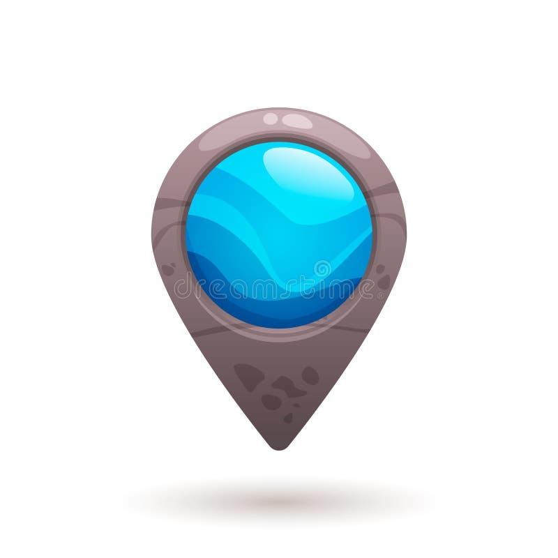Indicador del mapa de la piedra azul, marcador ilustración del vector