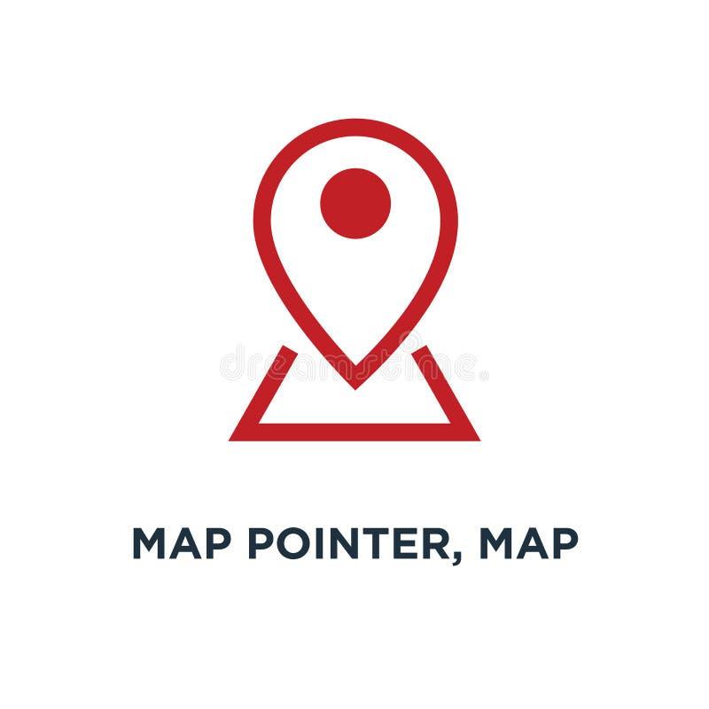 indicador del mapa, perno del mapa, icono del mapa perno de la flecha, ubicación del compás concentrada stock de ilustración